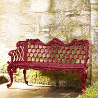 Red Garden Bench - Horchow