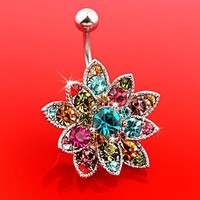 New Crystals Set Flower Hinged Barbell Dangle Belly