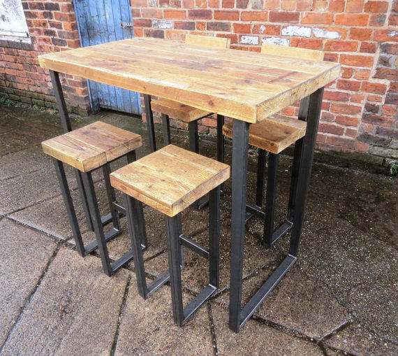 Reclaimed industrial 4 seater chic tall from rccltd on etsy for Table 6 kitchen and bar