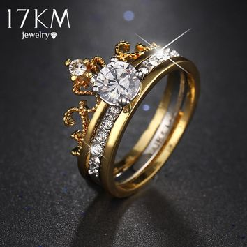 17KM Hot sale Fashion Luxury Gold Color Crystal Cubic Zircon Crown Women Engagement Jewelry Female Wedding Finger Flower Ring