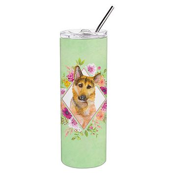 German Shepherd #2 Green Flowers Double Walled Stainless Steel 20 oz Skinny Tumbler CK4307TBL20