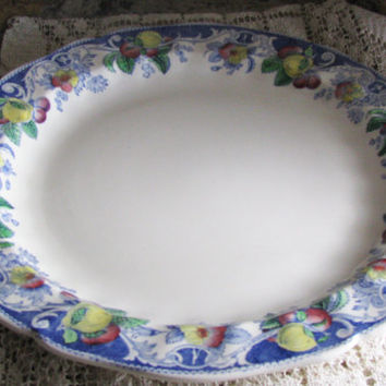 Royal Doulton English Earthenware, Vintage Pottery Charger Plate, D5472, Farmhouse Decor, Blue Multi Color Border