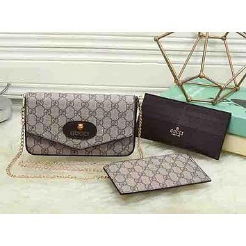 Perfect  Gucci Women Leather Shoulder Bag Crossbody Wallet Purse Three Piece Set