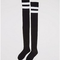 Black with White Athletic Stripe Over the Knee Socks - Spencer's