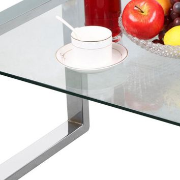 Yaheetech Living Room Modern Glass Top Coffee Tables Metal Base Glass Side End Table with Stainless Steels Legs - Walmart.com