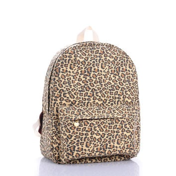 Canvas Leopard Print Backpack = 4887482308