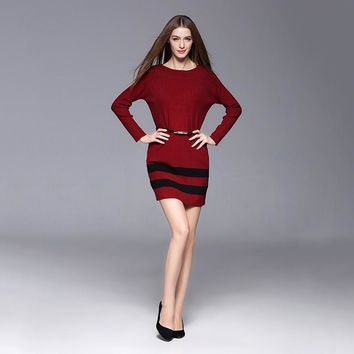 New Style Medium Style Round Neck Stripe Slim Patchwork Fashion Medium Style Knee-Length Women Clothing