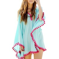 Vakind® Sexy Women Chiffon Long Sleeve Bikini Cover-Up Swimwear Beach Dress (XL)