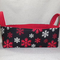 Red and Black Snowflake Basket With Handles