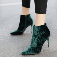 2016 New Winter Korean Style Women Sexy Velvets High Heel Stiletto Ankle Boots Pointed Toe Zipper Booties Pumps Shoes
