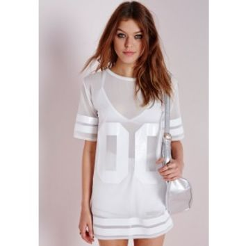 Mesh American Football T Shirt White - Mesh - T shirt - Tops - Missguided