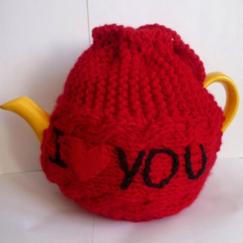 TeaPot Cozy, Gift for Mom, Knitted tea cosy, tea pot cozy -  I love you , Mothers day gift , Valentines gift, available in other colors