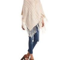 Ivory Cable Knit Turtleneck Poncho Sweater by Charlotte Russe