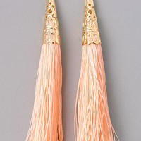 Festive Tassel Dangle Earrings - Peach