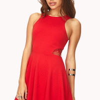 Daring Textured Mesh Skater Dress