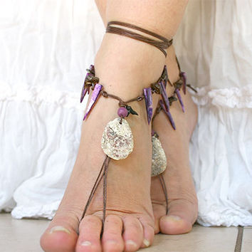 Barefoot sandles, Bohemian foot jewelry, Hippie Barefoot sandal with mother of pearls and natural shell, barefoot sandles, bare foot sandal