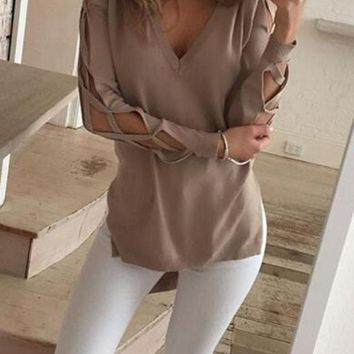 Khaki Plain Cut Out Hollow-out Lace-up Irregular Slit High-low V-neck Long Sleeve T-Shirt