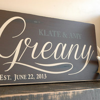 Family Last Name in Chocolate Brown with Rustic Finish