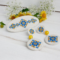 Ethnic  Stud Earrings French barrette embroidered jewelry elegant beaded gemstone Ukrainian embroidery yellow blue linen hair clip automatic