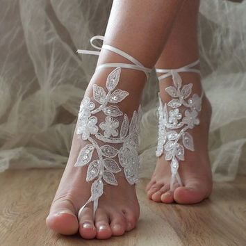 White Beach wedding barefoot sandals, White laca sandals, bridal barefoot sandals, White bridal beach shoes
