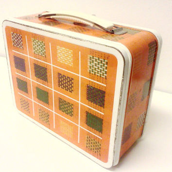 Plaid Lunch Box - Vintage Metal - 1970s