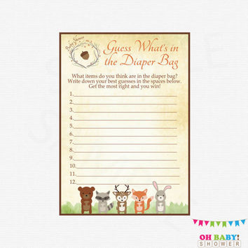 Woodland Baby Shower, Guess What's in the Diaper Bag, Woodland Animals Baby Shower Game, Diaper Bag Game, Printable Instant Download, WD01
