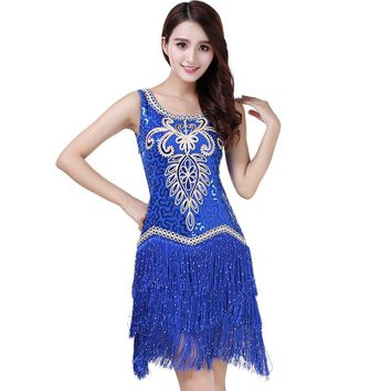 Sexy Women O Collar Sleeveless Beads Sequin Fringe Latin Dance Dress Competition Outfits Swing Tango Ballroom Jazz Party Gown