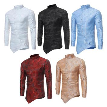 Men's Irregular Hem Mandarin Collar Long-Sleeve Paisley Print Shirt