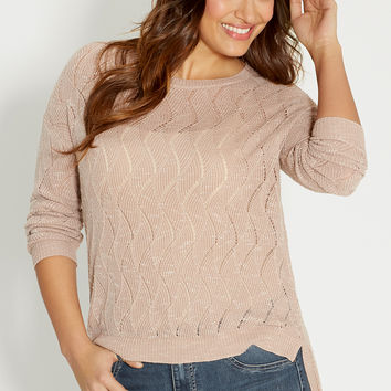 plus size wavy stitched sweater with extreme high-low hem
