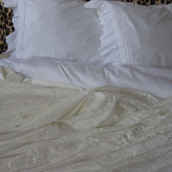 Eggshell white - ivory velvet duvet cover Full/Queen/King/Cal King - 2013 Velvet nomad collection - shabby chic bedding