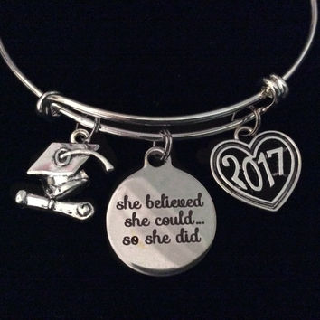 She Believed She Could Diploma Graduation Cap 2017 Expandable Charm Bracelet Silver Adjustable Bangle Trendy Gift