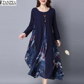 Womens 2017 Spring Floral Splice Cotton Linen Long Sleeve Casual Kaftan Party Boho Dress Plus Size