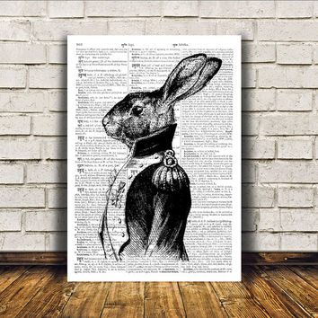 Dictionary print Rabbit poster Modern decor Animal art RTA10