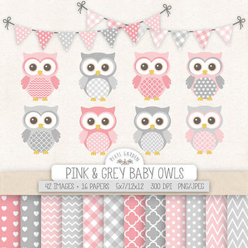 SALE. Pink & Gray Owl Clipart. Nursery, Baby Shower Clipart. Baby Girl Digital Paper in Chevron, Polka Dot, Gingham. Pink, Grey Baby Owls.