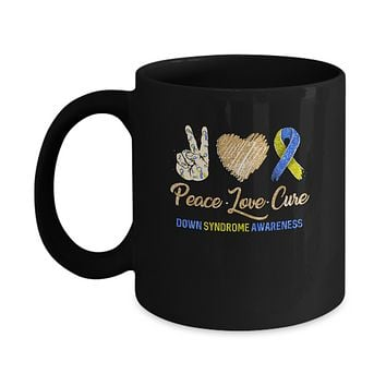 Peace Love Cure Down Syndrome Awareness Mug