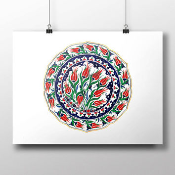 Turkish Tile Red Tulip Art Watercolor Print Ottoman Digital Print Wall Art Traditional Wall Decor Wall Hanging