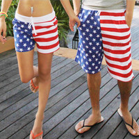 2015 New Mens Womens Stars Stripes American Flag Swimming Trunks Board Sports Beach Shorts Pants Hot Sale Free Shipping