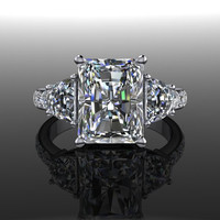 Forever Brilliant Moissanite Three Stone Engagement Ring 4.16 CTW