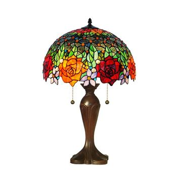Amora Lighting Home Decorative AM1534TL16 Tiffany Style Roses Table Lamp 23""