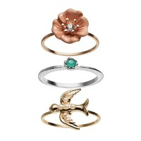 LC Lauren Conrad Bird & Flower Ring Set (Rose Gold/Green/Gold)