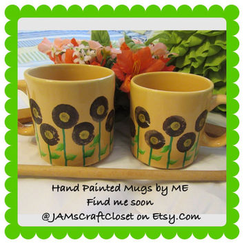 Unique One of a Kind Hand Painted by ME Coffee Mugs - HAPPY DOT Floral Design-Peach Mug Brown and Gold Flowers-Great Gift Idea-Kitchen Decor