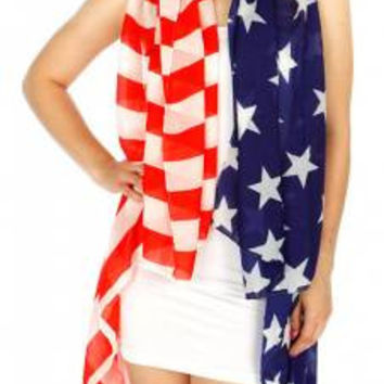 US Flag Print Ruana in One Size Fits Reg and Plus Sizes