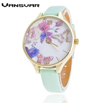 Vansvar Brand Casual Slim Leather Strap Watch Fashion Flower Wrist Quartz Watches Relogio Feminino Clock Gift Drop Shipping 1825