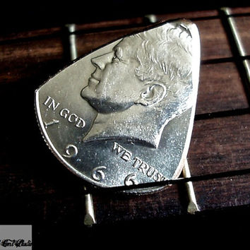 Silver Coin Guitar Pick -- 1966 Kennedy Half Dollar Guitar Pick
