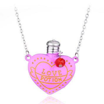 Free shipping 20pc/lot 2 Colour Love Potion Heart Bottle Necklace Accessories Creative Little Girls Jewelry Lover's Pendant