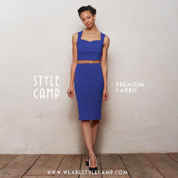 PREMIUM FABRIC Kirsten Two Piece Bralet and Pencil Skirt Set in Royal Blue
