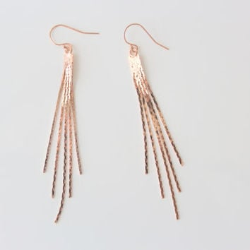 RACHEL - Shiny Rose Gold Snake Chain FringeTassel, Rose Gold Filled Earwire, Dangle Earrings