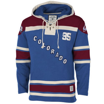 Colorado Avalanche Old Time Hockey Home Lace Heavyweight Hoodie – Navy Blue