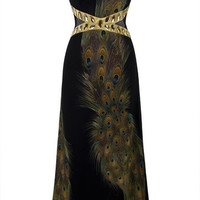 Black Peacock Dress Floor Length Open Back Sexy vestido de festa Cheap Evening Dress For Party 2015 = 1946421188