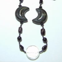 Gray Porcelain Crescents and Black Glass Beadwork Statement Necklace